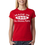 Made In 1955 All Original Parts White Womens T Shirt-Gildan-Daataadirect.co.uk