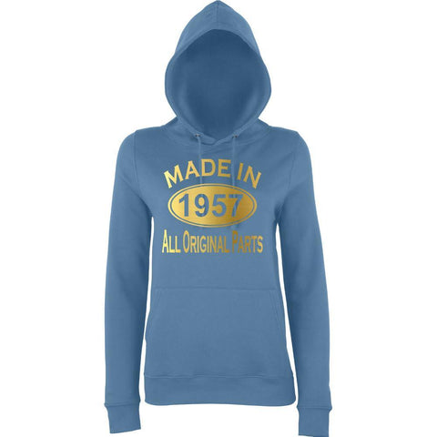Made In 1957 All Orignal Parts Women Hoodies Gold-AWD-Daataadirect.co.uk