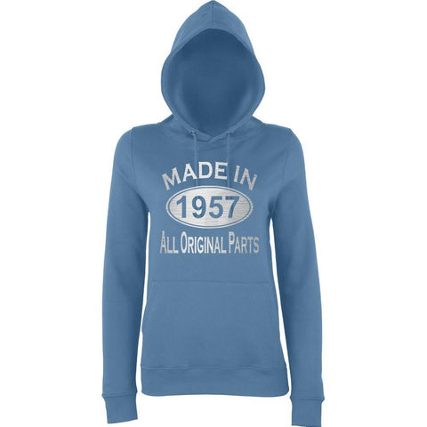 Made In 1957 All Orignal Parts Women Hoodies Silver-AWD-Daataadirect.co.uk