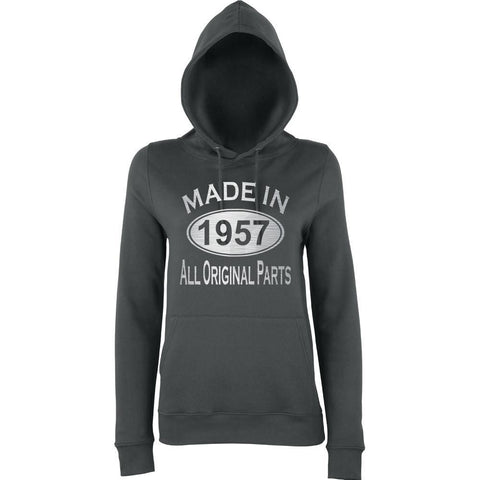 "[daataadirect.co.uk]-Made In 1957 All Orignal Parts Women Hoodies Silver-Hoodies-AWD-charcol-XS UK 8 Euro 32 Bust 30""-Daataadirect"