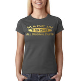 Made In 1958 All Original Parts Gold Womens T Shirt-Gildan-Daataadirect.co.uk