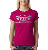 Made In 1958 All Original Parts Silver Womens T Shirt-Gildan-Daataadirect.co.uk