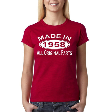 Made In 1958 All Original Parts White Womens T Shirt-Gildan-Daataadirect.co.uk