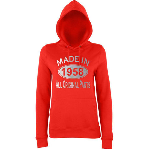 Made In 1958 All Orignal Parts Women Hoodies Silver-AWD-Daataadirect.co.uk