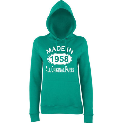 "Made In 1958 All Orignal Parts Women Hoodies White-Hoodies-AWD-jade-XS UK 8 Euro 32 Bust 30""-Daataadirect"