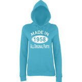 Made In 1958 All Orignal Parts Women Hoodies White-AWD-Daataadirect.co.uk
