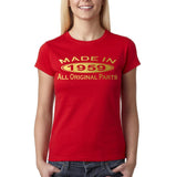 Made In 1959 All Original Parts Gold Womens T Shirt-Gildan-Daataadirect.co.uk