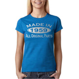 Made In 1959 All Original Parts Silver Womens T Shirt-Gildan-Daataadirect.co.uk