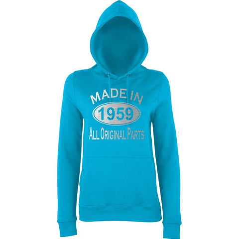 Made In 1959 All Orignal Parts Women Hoodies Silver-AWD-Daataadirect.co.uk