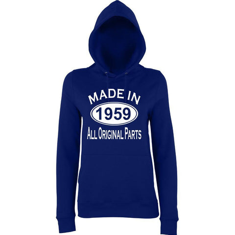 "Made In 1959 All Orignal Parts Women Hoodies White-Hoodies-AWD-new french navy-XS UK 8 Euro 32 Bust 30""-Daataadirect"