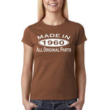 Made In 1960 All Original Parts White Womens T Shirt-Gildan-Daataadirect.co.uk