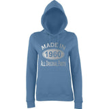 Made In 1960 All Orignal Parts Women Hoodies Silver-AWD-Daataadirect.co.uk