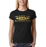 Made In 1961 All Original Parts Gold Womens T Shirt-Gildan-Daataadirect.co.uk