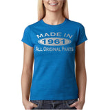 Made In 1961 All Original Parts Silver Womens T Shirt-Gildan-Daataadirect.co.uk