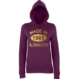 Made In 1961 All Orignal Parts Women Hoodies Gold-AWD-Daataadirect.co.uk