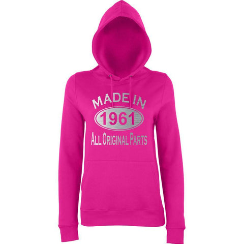 Made In 1961 All Orignal Parts Women Hoodies Silver-AWD-Daataadirect.co.uk