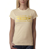 Made In 1962 All Original Parts Gold Womens T Shirt-Gildan-Daataadirect.co.uk