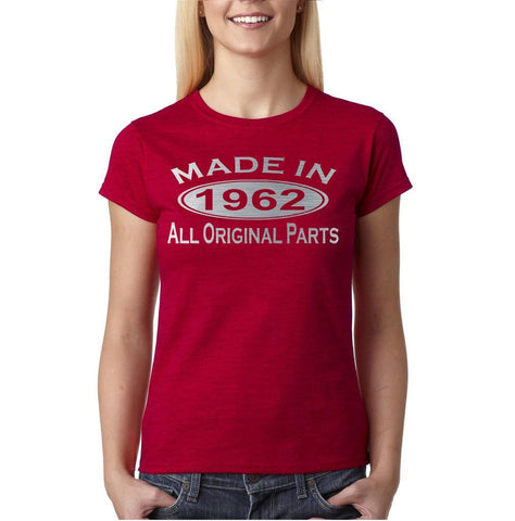 "Made In 1962 All Original Parts Silver Womens T Shirt-T Shirts-Gildan-Antique Cherry-M UK 10 Euro 36 Bust 34""-Daataadirect"