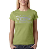 Made In 1962 All Original Parts Silver Womens T Shirt-Gildan-Daataadirect.co.uk