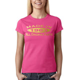 Made In 1963 All Original Parts Gold Womens T Shirt-Gildan-Daataadirect.co.uk