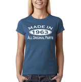 Made In 1963 All Original Parts White Womens T Shirt-Gildan-Daataadirect.co.uk