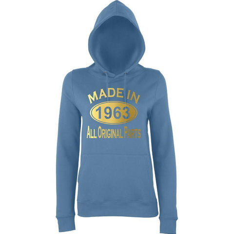 Made In 1963 All Orignal Parts Women Hoodies Gold-AWD-Daataadirect.co.uk