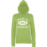 Made In 1963 All Orignal Parts Women Hoodies White-AWD-Daataadirect.co.uk