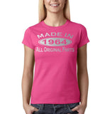 Made in 1964 All Original Parts Silver Womens T Shirt-Gildan-Daataadirect.co.uk