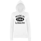 Made In 1964 All Orignal Parts Women Hoodies Black-AWD-Daataadirect.co.uk