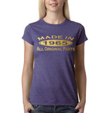 Made in 1965 All Original Parts Gold Womens T Shirt-Gildan-Daataadirect.co.uk
