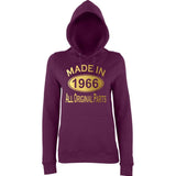 Made In 1966 All Orignal Parts Women Hoodies Gold-AWD-Daataadirect.co.uk