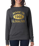 Made in 1966 All Original Parts Women Sweat Shirts Gold-ANVIL-Daataadirect.co.uk