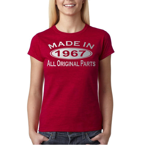 Made in 1967 All Original Parts Silver Womens T Shirt-Gildan-Daataadirect.co.uk