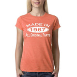 Made in 1967 All Original Parts White Womens T Shirt-Gildan-Daataadirect.co.uk