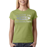 Made in 1968 All Original Parts Silver Womens T Shirt-Gildan-Daataadirect.co.uk