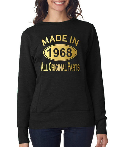 Made in 1968 All Original Parts Women Sweat Shirts Gold-ANVIL-Daataadirect.co.uk