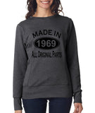 Made in 1969 All Original Parts Women Sweat Shirts Black-ANVIL-Daataadirect.co.uk