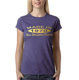 Made in 1970 All Original Parts Gold Womens T Shirt-Gildan-Daataadirect.co.uk