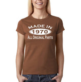 Made in 1970 All Original Parts White Womens T Shirt-Gildan-Daataadirect.co.uk