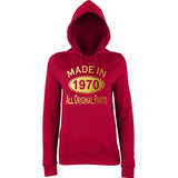 Made In 1970 All Orignal Parts Women Hoodies Gold-AWD-Daataadirect.co.uk