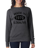 Made in 1970 All Original Parts Women Sweat Shirts Black-ANVIL-Daataadirect.co.uk