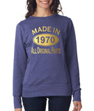 Made in 1970 All Original Parts Women Sweat Shirts Gold-ANVIL-Daataadirect.co.uk