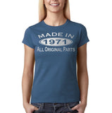 Made in 1971 All Original Parts Silver Womens T Shirt-Gildan-Daataadirect.co.uk
