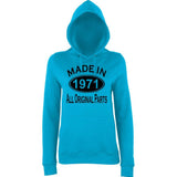 Made In 1971 All Orignal Parts Women Hoodies Black-AWD-Daataadirect.co.uk