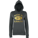 Made In 1971 All Orignal Parts Women Hoodies Gold-AWD-Daataadirect.co.uk