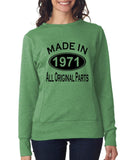 Made in 1971 All Original Parts Women Sweat Shirts Black-ANVIL-Daataadirect.co.uk