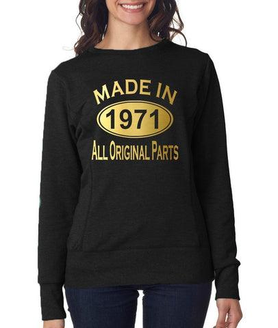 Made in 1971 All Original Parts Women Sweat Shirts Gold-ANVIL-Daataadirect.co.uk