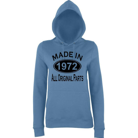 Made In 1972 All Orignal Parts Women Hoodies Black-AWD-Daataadirect.co.uk