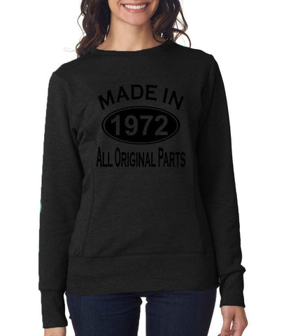 Made in 1972 All Original Parts Women Sweat Shirts Black-ANVIL-Daataadirect.co.uk