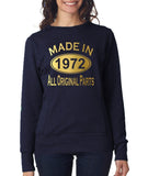 Made in 1972 All Original Parts Women Sweat Shirts Gold-ANVIL-Daataadirect.co.uk